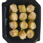 Siu Mai de Langostinos con Cerdo – Bandeja de 12 Unidades. Masa de lámina de trigo con huevo. Relleno de langostino, carne de tapa de cerdo y shitake.